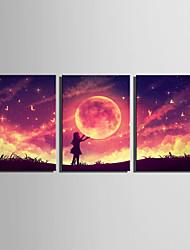 E-HOME Stretched LED Canvas Print Art Embrace The Moon Girl LED Flashing Optical Fiber Print Set of 3