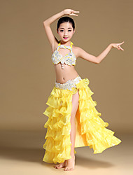 Belly Dance Outfits Children's Performance Chinlon Organza SatinBeading Cascading Ruffle Crystals/Rhinestones Paillettes Split Tiers