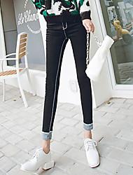 Zeichen 2016 Frühling Denim dünne Bleistift dünne schwarze Stretch-Hosen Füße war Hosen weiblichen koreanischen Studenten