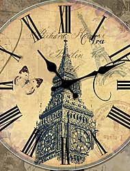 Traditionnel Rustique Rétro Vacances Musique Famille Horloge murale,Rond Bois 34*34 Intérieur/Extérieur Intérieur Horloge