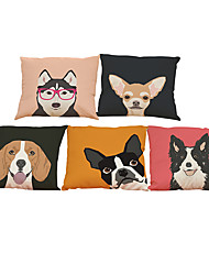 Set of 5 Husky shepherd dog pattern  Linen Pillow Case Bedroom Euro Pillow Covers 18x18 inches  Cushion cover