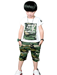 Boy's Going out Casual/Daily/Sports Print Camouflage Sets Cotton Summer Short Sleeve Pants 2 Piece Clothing Set Children's Garments