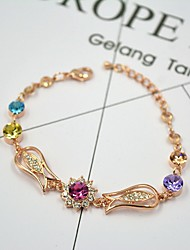 Women's Chain Bracelet Gemstone Crystal Rhinestone Alloy Natural Fashion Round Gold Jewelry 1pc