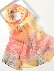 Women Elegant Chiffon Scarf Cute Party Casual Rectangle Blue Pink Purple Orange Khaki Print