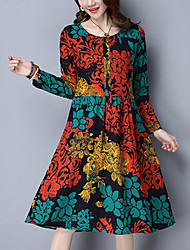 Women's Going out Casual/Daily Street chic Loose A Line Dress Rainbow Knee-length Cotton /Linen Blue /Green Spring /Fall