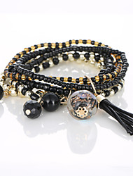 The European And American Fashion Bracelet Melting Glass Bead Multilayer Elastic Hand String Four Layers Tassel Bracelet