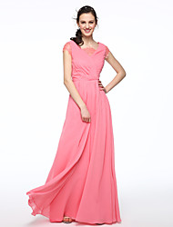2017 Lanting Bride® Floor-length Chiffon Elegant Bridesmaid Dress - A-line V-neck with Pleats