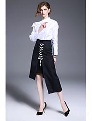 Feminino Camisa Social Trabalho Simples Primavera Outono,Sólido Branco Algodão Colarinho Chinês Manga Longa Média