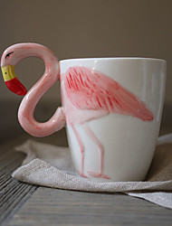 Novelty Flamingo Pattern Drinkware, 400 ml BPA Free Bone China Coffee Milk Coffee Mug Travel Mugs