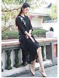 firmar botones de la placa de resorte chino chino viento nacional de la flor del bordado de manga larga chaqueta de punto camisa de vestir