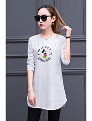 2016 autumn new Korean leisure wild cotton long-sleeved t-shirt women long section bottoming shirt loose Science