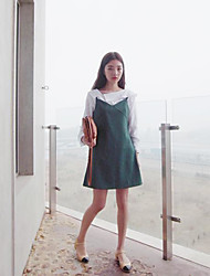 coco Korea retro westlichen Stil niedlichen grünen Mix and Match Temperament V-Ausschnitt Gurtzeug Kleid