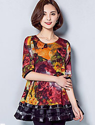 Women's Plus Size Casual/Daily Simple Summer Blouse,Floral Round Neck ½ Length Sleeve Blue Orange Rayon Medium