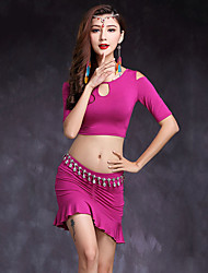 Belly Dance Outfits Women's Performance Modal Pleated 2 Pieces Short Sleeve Natural Top / Skirt