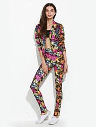Mujer Simple Noche / Formal Otoño / Invierno Conjunto Pantalón Trajes,Cuello Camisero Estampado Manga Larga Poliéster Multicolor Opaco