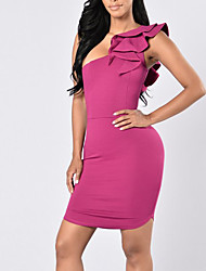 Women's Going out Club Sexy Simple Hin Thin Over Hip Bodycon Ruffle Backless DressSolid One Shoulder Above Knee Sleeveless Summer Fall Mid Rise