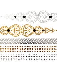 - Tattoo Aufkleber - Muster - Schmuck Serie - für Damen/Girl/Erwachsener/Teen - Gold - Papier - #(1) Stück - #(23x15.5) -#(Chinese