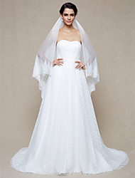 Wedding Veil One-tier Fingertip Veils Dot Lace Applique Edge Net