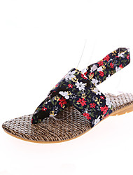 The new lady flat shoes heel ethical wind light mouth printing thong sandals
