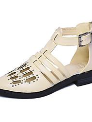 Sandals Spring Comfort PU Outdoor Low Heel Black White