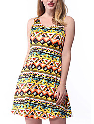 Women's Casual/Daily Formal Simple Loose Dress,Print U Neck Above Knee Sleeveless Polyester Blue Pink Yellow All Seasons Low Rise