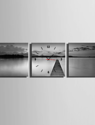 E-HOME® Grey Lake Clock in Canvas 3pcs