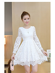 Sign in early spring 2017 Korean version of sweet lady temperament Slim lace dress