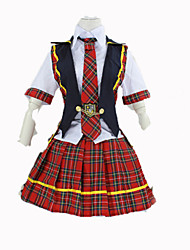 Cosplay Costumes Student/School Uniform Festival/Holiday Halloween Costumes Red Solid Carnival Female Cotton
