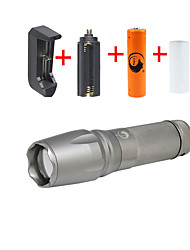 UKing ZQ-X800DS#-EU 2000LM Cree XM-L T6 LED 5Modes Zoomable Flashlight Torch Kits with 18650 and Battery Charger
