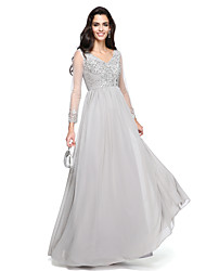 A-Line V-neck Floor Length Chiffon Prom Formal Evening Dress with Beading Appliques Ruching by TS Couture®