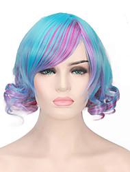 la chaleur de la perruque de la performance du parti de cosplay résistant mode bleu de style violet couleur mélangée vague bob perruque