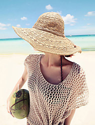 Women Straw Sun Hat Beach Wide-brimmed Hand-woven Hat Solid Casual Summer