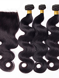 Vinsteen 8a Unprocessed Brazilian Hair Straight Hair Weaves with Lace Closure No Tangle Straight Brazilian Hair Bundles Natural Color Dyeable