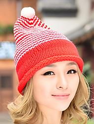 Women Striped Knit Tip Winter Newsboy Christmas Knit Hat