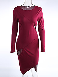Women's Casual/Daily / Club Simple Cut Out Bodycon / Sheath DressSolid Round Neck Asymmetrical Long Sleeve