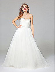 A-Line Sweetheart Court Train Tulle Wedding Dress with Sash / Ribbon Ruche by LAN TING BRIDE®