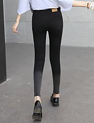 2017 Primavera coreano calça jeans de cintura alta pés femininos nove estudantes estiramento fino gradiente calças lápis maré