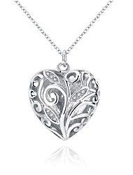 Women's Pendant Necklaces Chain Necklaces AAA Cubic Zirconia Zircon Copper Silver Plated HeartUnique Design Dangling Style Pendant
