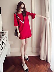 2017 весной новый корейский шею седьмой труба рукава воланами юбка была тонкая вязать платье