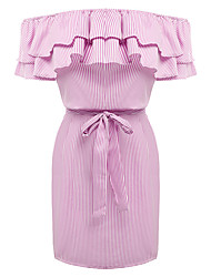 Women's Going out Casual/Daily Sexy Simple Layered Ruffle Backless Lace Up Sheath DressStriped Boat Neck Above Knee Short Sleeve Summer Fall