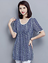 Women's Plus Size Casual/Daily Simple Summer Blouse,Striped Round Neck Short Sleeve Blue Black Polyester Medium