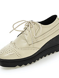 Women's Heels Spring Summer Fall Winter Other PU Office & Career Dress Casual Wedge Heel Lace-up Black Yellow Beige