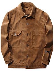 Мужчины На каждый день Офис Спорт Однотонный Куртка Квадратный вырез,Винтаж просто Уличный стиль Весна Стирать отдельно Длинный рукав,