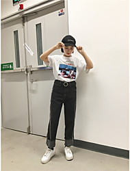 Sign new Korean fashion waist without shells washed double flash straight denim trousers female wide leg pants