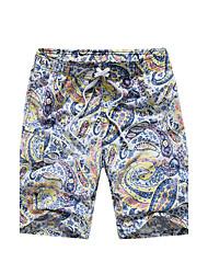 Hommes Ample Chino Short Pantalon,Bohème Actif Décontracté / Quotidien Plage Sportif Imprimé Blocs de Couleur Taille NormaleCordon