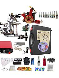 Komplettes Tattoo Kit 1 x Stahl-Tattoomaschine für Umrißlinien und Schattierung 1 x-Legierung Tattoo Maschine für Futter und Schattierung