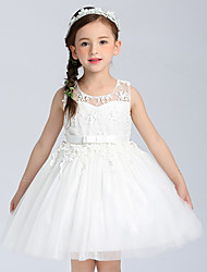Ball Gown Short / Mini Flower Girl Dress - Cotton Satin Tulle Sleeveless Jewel with Bow(s) Lace