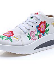Damen-Loafers & Slip-Ons-Outddor Lässig Sportlich-Leinwand-Flacher Absatz-Komfort Neuheit Bestickte Schuhe-Weiß Blau