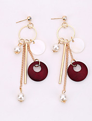 The European And American Fashion Jewelry Tassel Pearl Earrings Long Shell Decoration Earrings