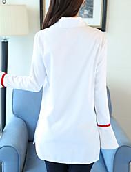 знак пятно 2017 весной и осенью новый спикер рукав белая рубашка темперамент пригородный свободные длинными рукавами белая рубашка женская